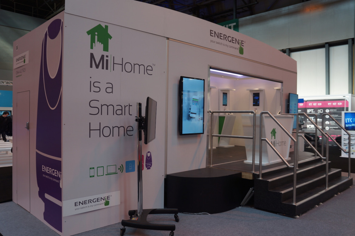 Energenie had a purpose built showroom for showing off their app and hardware at events. Thanks to Adam at Energenie for the photo.